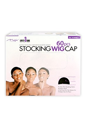 [Magic Collection #01400BLA] Magic Stocking Wig Cap (60pcs/box) -dz