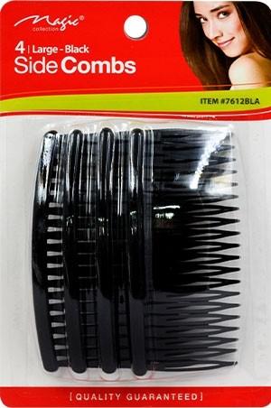 "[Magic Collection #7612BLK] Side Comb 4"" (4pc/cd)-dz"