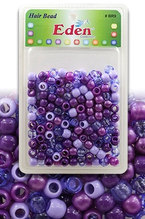 [#BR9PUR6] Eden  XLG Blister Med Round Bead-Pur6 -pk
