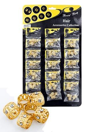 [#CX6110 ] Gold Hair & Nail Ring Bead (L) [18/pk]-pk