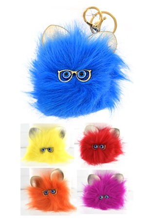 [ Magic Gold #6781] Fur Pom Key chain(Cat) Assorted-dz