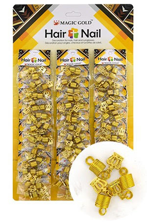 [#CX7205 ] Gold Hair & Nail Ring Bead  [36/pk]-pk