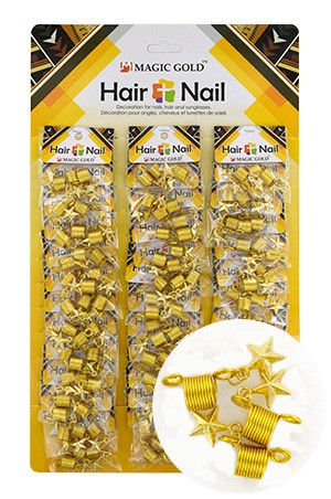 [#CX7206 ] Gold Hair & Nail Ring Bead [36/pk]-pk