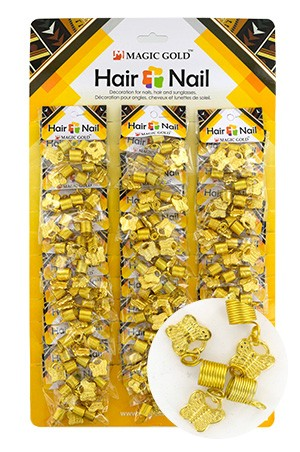 [#CX7209 ] Gold Hair & Nail Ring Bead [36/pk]-pk