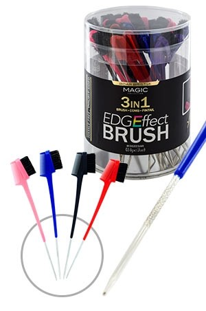 [ Magic -#EDGE03JAR] Magic Edges Brush 3-In-1 w/Pin (24/jar)-jar