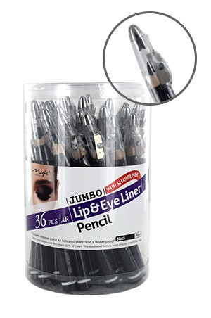 [ Magic ] Jumbo Lip & Eye Liner Pencil w/Sharpener Black #M201JAR  -jar