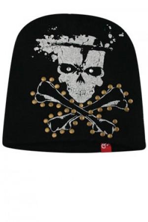 NY Knit Skull Foil Cap  - #BE1046 (Silver)