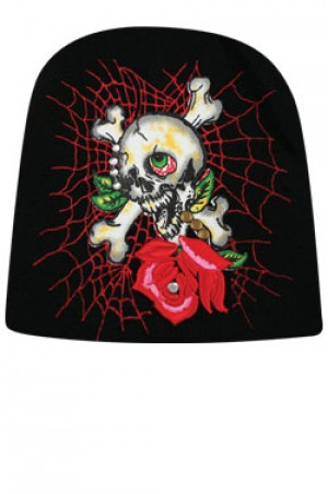 NY Knit Skull One Rose Cap  - #BE1047 (Multi)