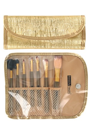 [BTS146-box#68] 7pc Brush Set in Pouch_Metal Gold