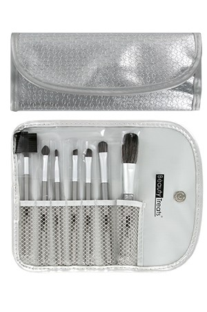 [BTS147-box#69] 7pc Brush Set in Pouch_Metal Silver
