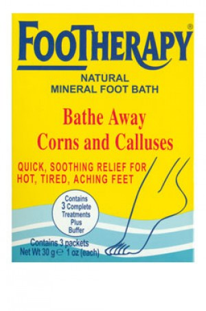 [Queen Helene-box#55] Footherapy Natural Mineral Foot Bath (1 oz, 3 packets)- Bathe Away Corns and Calluses