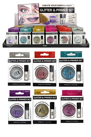 [ Magic ] Glitter & Primer set 36pcs #EYE1013Asst (6 kind* 6 each) -ds