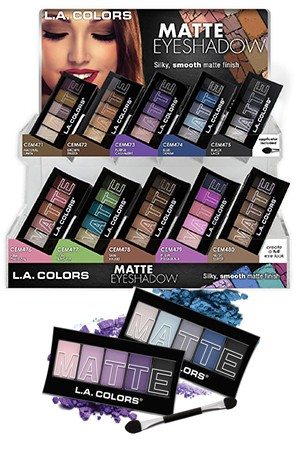 [L.A.Colors #CAD57.1] Matte Eyeshadow Display 120pcs (10 kinds/12 ea each)