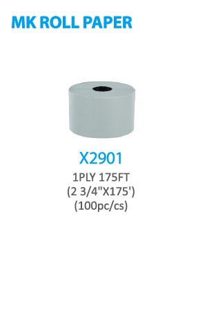"X2901 MK Roll Paper 1PLY 175FT(2 3/4"" x175') 100pc/cs -pc"