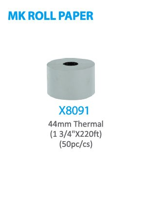 "X8091 MK Roll Paper 44mm Thermal (1 3/4"" x 220ft) 50pc/cs -cs"