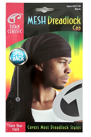 [Titan#22149] Mesh Dreadlock Cap -Black-dz
