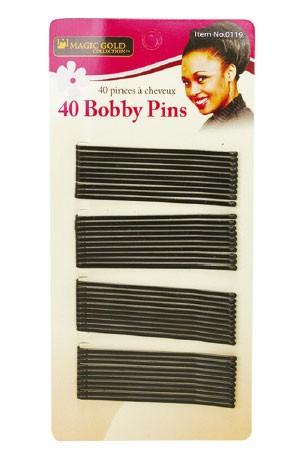 [#0119] Magic Gold 40 Bobby Pins (Black) -dz