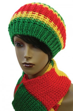 Jamaican Cap +Scarf Set w/knitted #1960