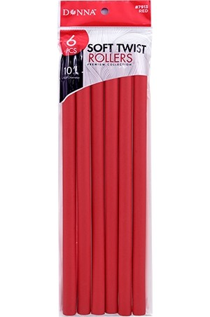 """[#7913] Donna Soft Twist Rollers 1/2x10"""" Red -pk"""