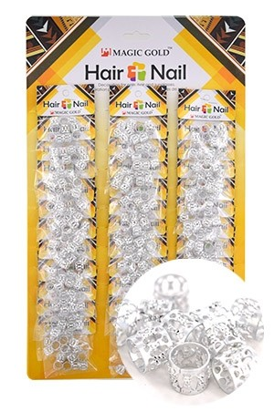 [#CX7201 ] Silver Hair & Nail Ring Bead [36/pk]-pk
