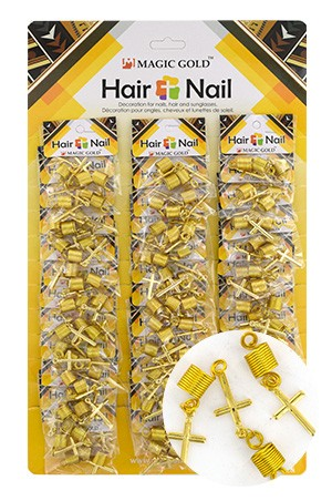 [#CX7207 ] Gold Hair & Nail Ring Bead [36/pk]-pk
