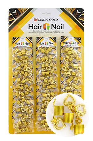 [#CX7208 ] Gold Hair & Nail Ring Bead [36/pk]-pk