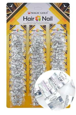[#CX7492 ] Silver Hair & Nail Ring Bead [36/pk]-pk