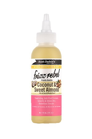 [Aunt Jackie's-box#28]  Natural Growth Oil Frizz Rebel-Coconut & Sweet Almond (4oz)