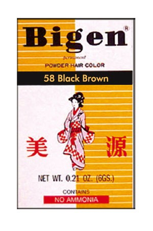 Bigen Permanent Powder Hair Color #58 Black Brown -pc