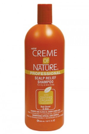 [Creme of Nature-box#33] Red Clover & Aloe Scalp Relief Shampoo (32oz) for Dry & Itchy Scalp