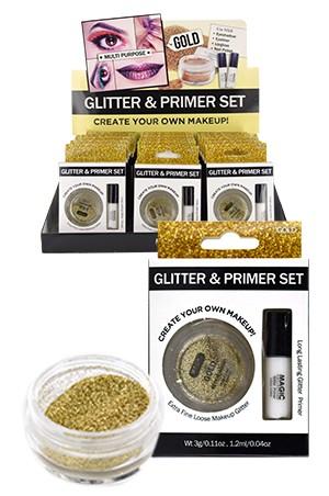 [ Magic ] Glitter & Primer set #EYE1013GOLD (18pcs) -ds