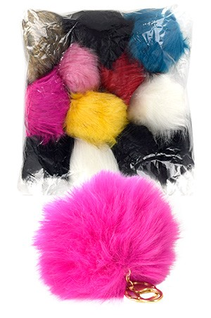 [ Magic  Gold #6244] Fur Pom Keychain Assorted-dz
