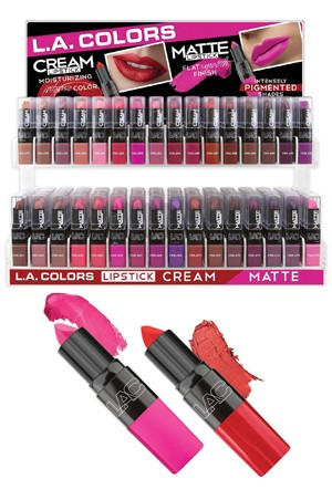 [L.A.Colors] Cream & Matte Lipstick (32 kinds/12 each)