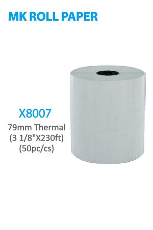 "X8007 MK Roll Paper 79mm Thermal (3 1/8"" x 230ft) 50pc/cs -cs"