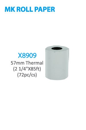 "X8909 MK Roll Paper 57mm Thermal (2 1/4"" x 85ft) 72pc/cs -cs"