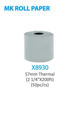 "X8930 MK Roll Paper 57mm Thermal (2 1/4"" x 200ft) 50pc/cs -cs"