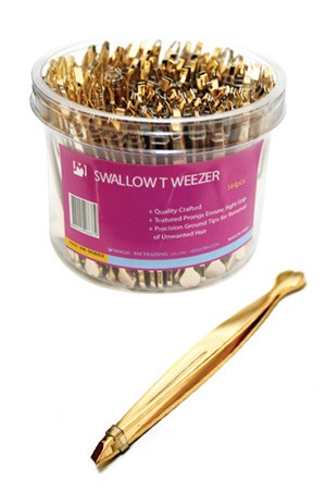 [Magic Gold #90663] Slant Swallow Tip Tweezer (144pc/jar) -jar
